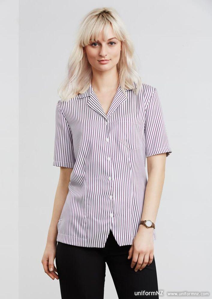 Oasis stripe action back overblouse s266ls uniform for Spa uniform nz