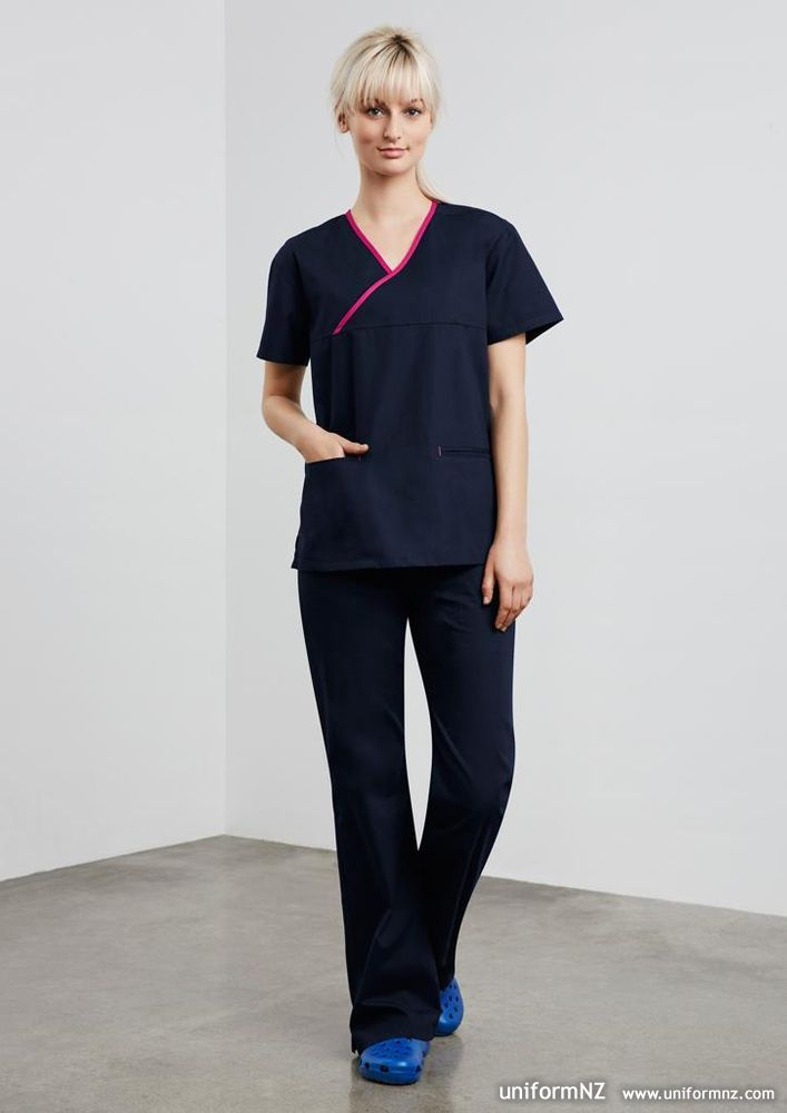 Ladies contrast scrub top h10722 uniform for Spa uniform france